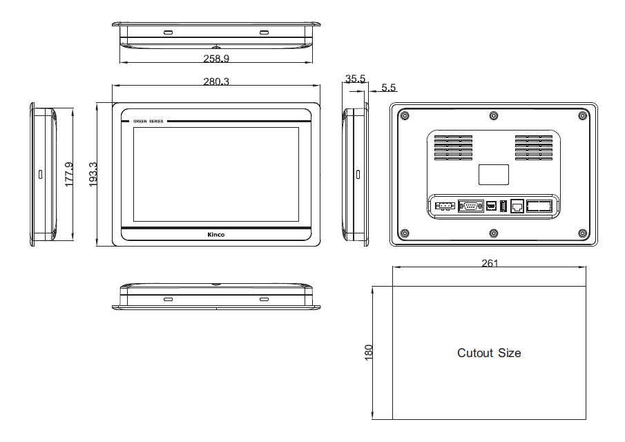 "Kinco GL100E 10"" Green Series Widescreen HMI Touch Panel"